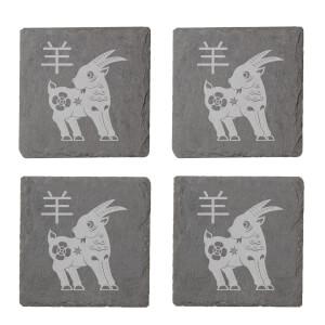 Chinese Zodiac Goat Engraved Slate Coaster Set