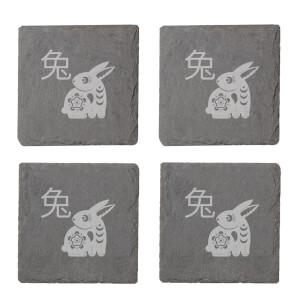 Chinese Zodiac Rabbit Engraved Slate Coaster Set