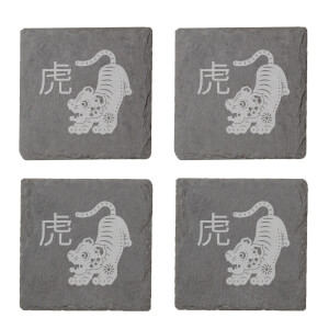 Chinese Zodiac Tiger Engraved Slate Coaster Set
