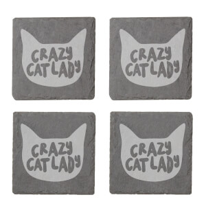 Crazy Cat Lady Engraved Slate Coaster Set