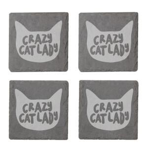 Crazy Cat Lady Engraved Slate Coaster Set
