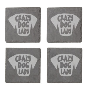 Crazy Dog Lady Engraved Slate Coaster Set