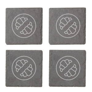 Croissants Engraved Slate Coaster Set