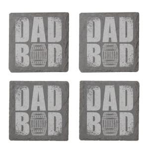 Dad Bod Engraved Slate Coaster Set