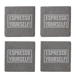 Espresso Yourself Engraved Slate Coaster Set
