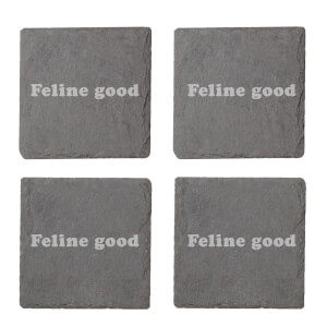 Feline Good Engraved Slate Coaster Set