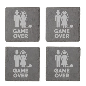 Game Over Bride Engraved Slate Coaster Set