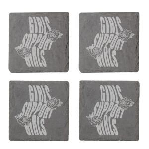 Girls Support Girls Engraved Slate Coaster Set