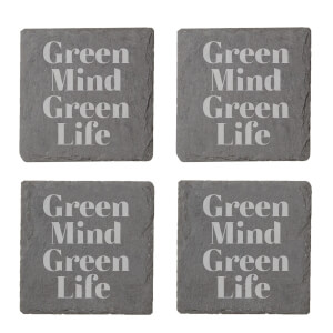 Green Mind Green Life Engraved Slate Coaster Set
