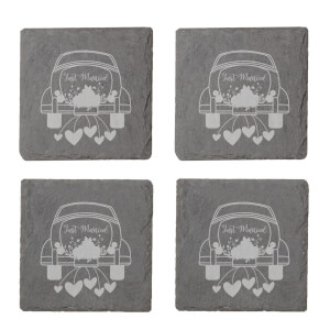 Just Married Car Engraved Slate Coaster Set