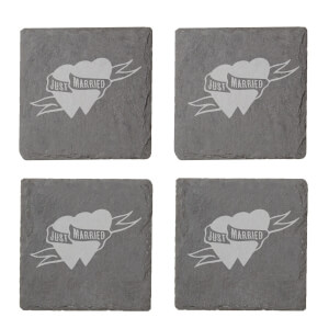 Just Married Engraved Slate Coaster Set