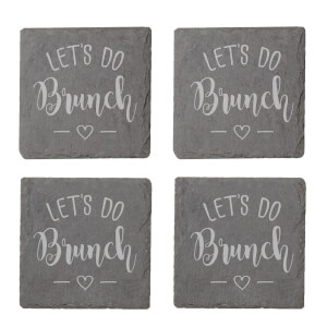Let's Do Brunch Engraved Slate Coaster Set