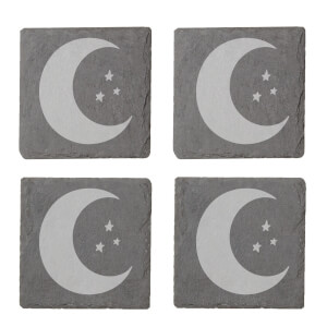 Moon And Stars Engraved Slate Coaster Set