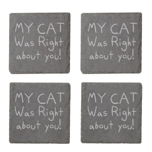My Cat Was Right About You Engraved Slate Coaster Set