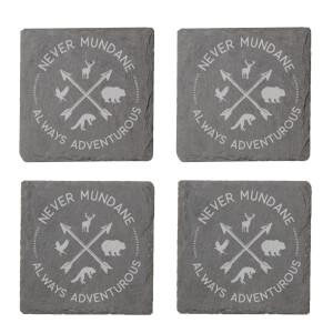 Never Mundane Always Adventurous Engraved Slate Coaster Set