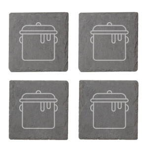 Pot Engraved Slate Coaster Set