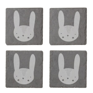 Rabbit Engraved Slate Coaster Set