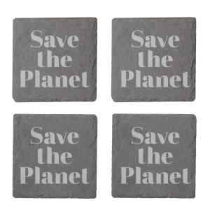 Save The Planet Engraved Slate Coaster Set