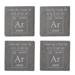 Science Pun Engraved Slate Coaster Set