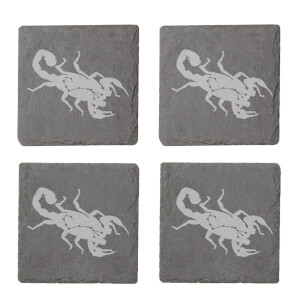 Scorpio Engraved Slate Coaster Set