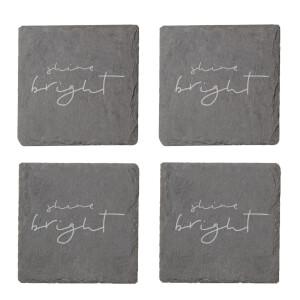 Shine Bright Engraved Slate Coaster Set