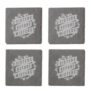 Sisters Before Misters Engraved Slate Coaster Set