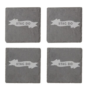 Stag Do Engraved Slate Coaster Set