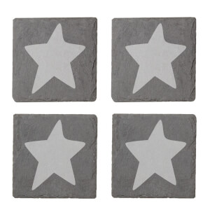 Star Engraved Slate Coaster Set