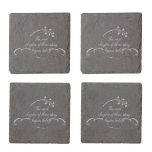 The Next Chapter Of Their Story Begins Today Engraved Slate Coaster Set