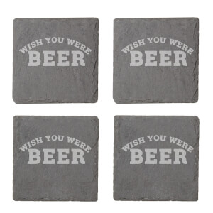 Wish You Were Beer Engraved Slate Coaster Set
