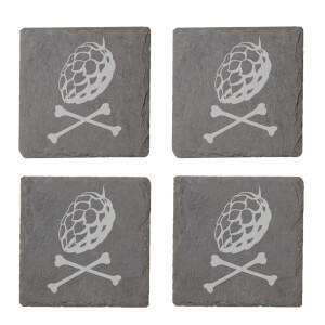 X Marks The Spot Engraved Slate Coaster Set