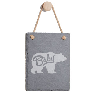 Baby Bear Engraved Slate Memo Board - Portrait