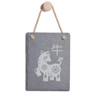 Chinese Zodiac Ox Engraved Slate Memo Board - Portrait