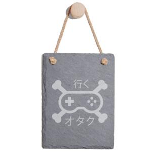 Gamer Cross Bones Engraved Slate Memo Board - Portrait