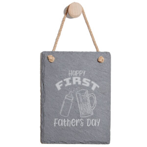 Happy First Fathers Day Engraved Slate Memo Board - Portrait