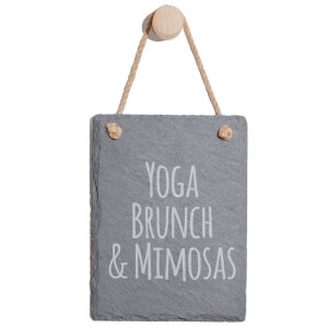 Yoga, Brunch & Mimosas Engraved Slate Memo Board - Portrait