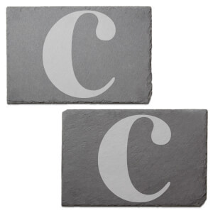 Lowercase C Engraved Slate Placemat - Set of 2