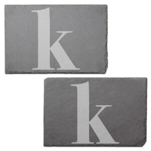 Lowercase K Engraved Slate Placemat - Set of 2