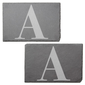 Uppercase Letter Engraved Slate Placemat - Set of 2