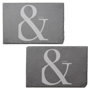 & Love Engraved Slate Placemat - Set of 2