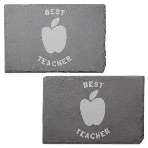 Best Teacher Engraved Slate Placemat - Set of 2