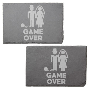 Game Over Groom Engraved Slate Placemat - Set of 2
