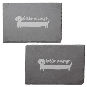 Hello Sausage Engraved Slate Placemat - Set of 2