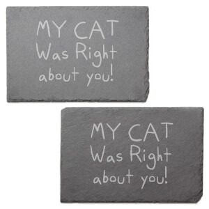 My Cat Was Right About You Engraved Slate Placemat - Set of 2