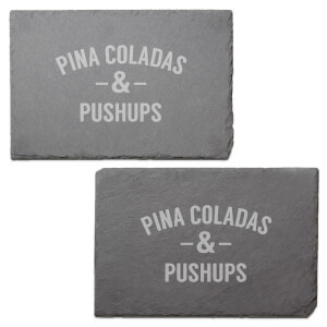 Pina Coladas & Pushups Engraved Slate Placemat - Set of 2