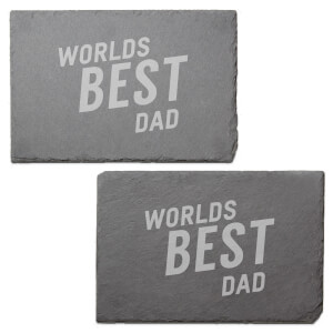 Worlds Best Dad Engraved Slate Placemat - Set of 2