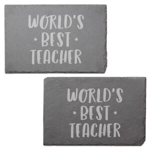 World's Best Teacher Engraved Slate Placemat - Set of 2