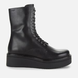 Vagabond Women's Tara Leather Chunky Lace Up Boots - Black