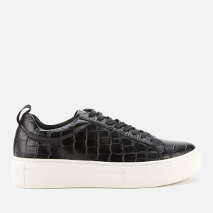 Vagabond Women's Zoe Embossed Leather Flatform Trainers - Black