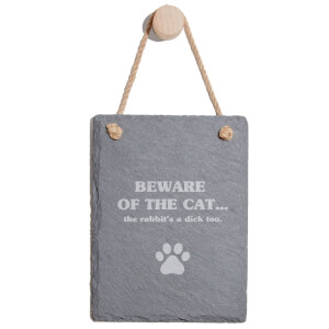Beware Of The Cat Engraved Slate Memo Board - Portrait
